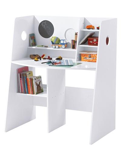 Bureau vertbaudet fille table bicolore en bois blanc avec for Bureau vertbaudet